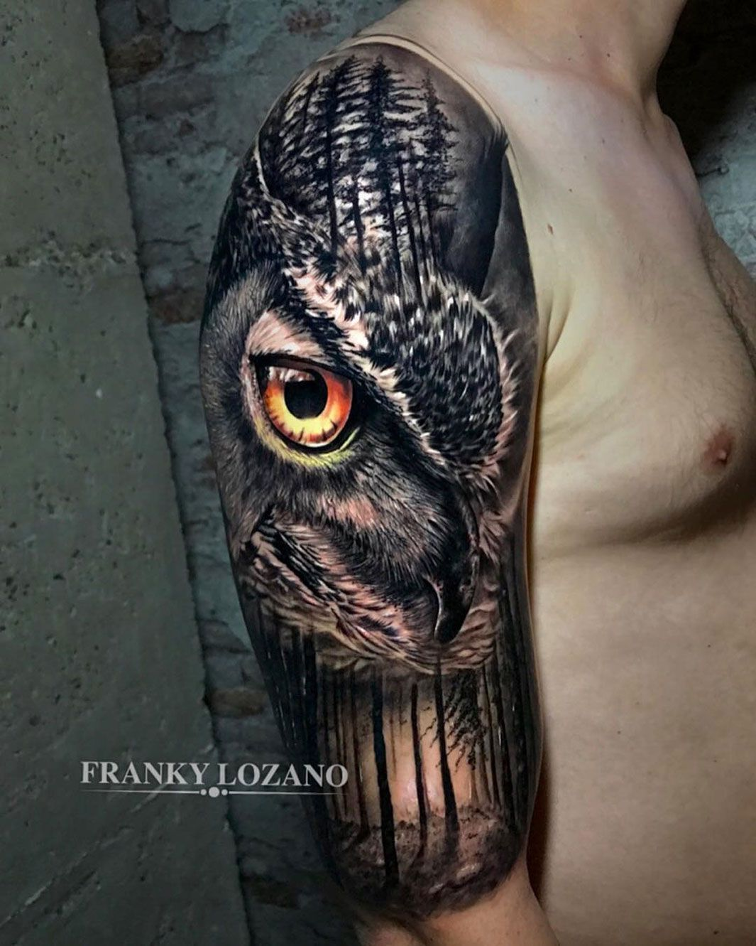 Owl With Piercing Eyes Forest Best Tattoo Design Ideas Half Sleeve Tattoo Sleeve Tattoos Forest Tattoo Sleeve