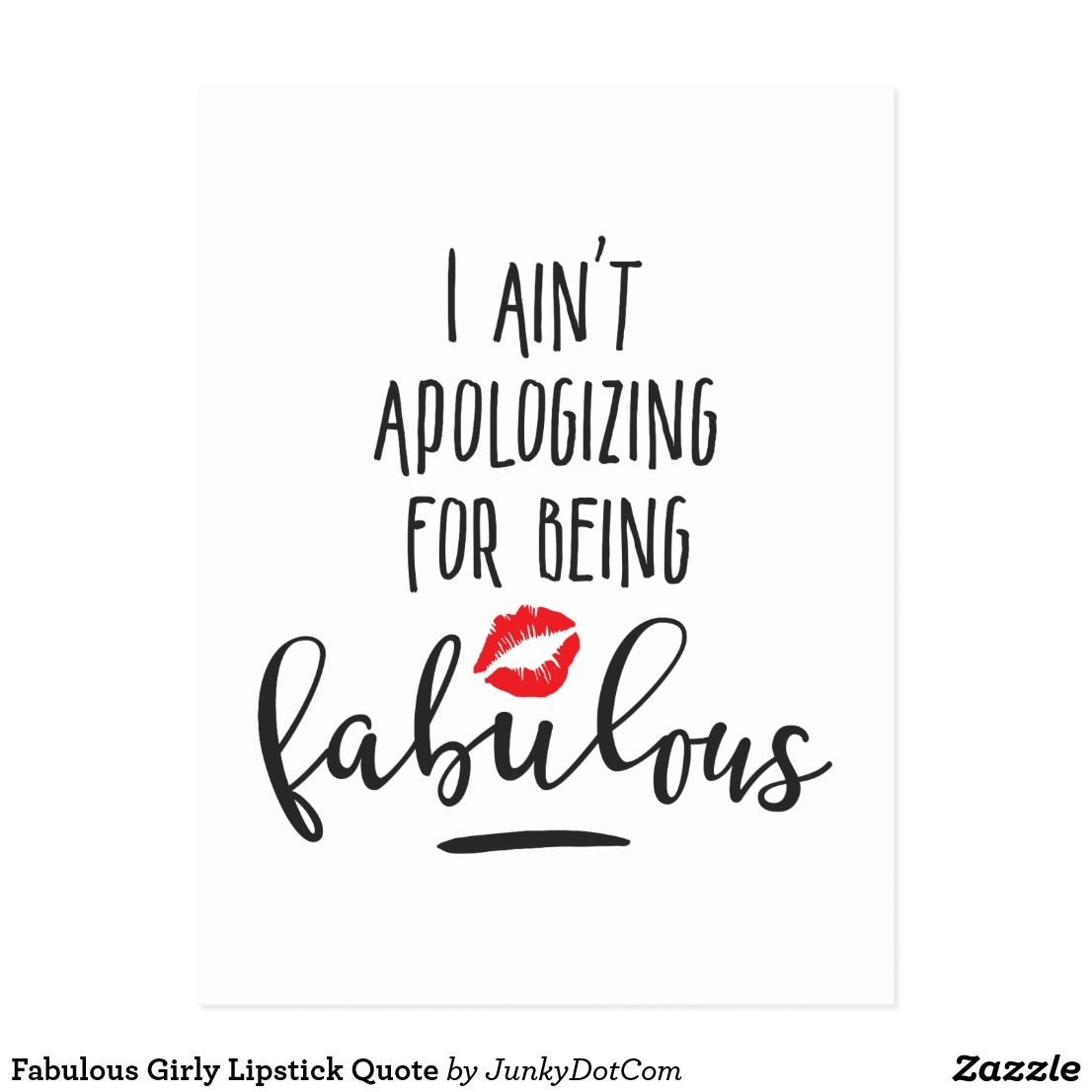 Lipstick Quotes Fabulous Girly Lipstick Quote Postcard Juli 6 2017 Zazzle