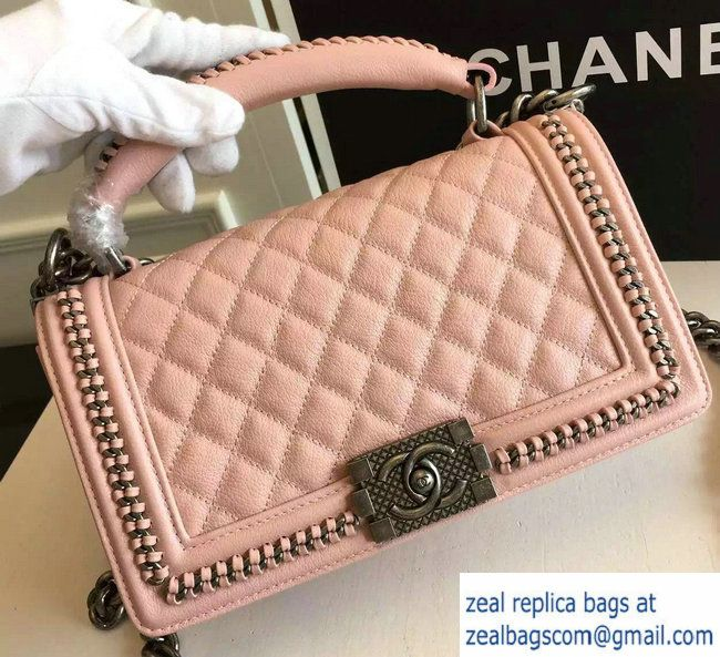 Chanel Chain Top Handle Boy Flap Medium Bag A94804 Nude Pink 2016 ... 8fe35983c1a17