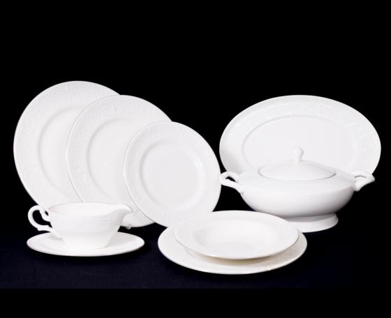 Vajilla cl sica de relieve con filo de platino consta de for Vajilla porcelana