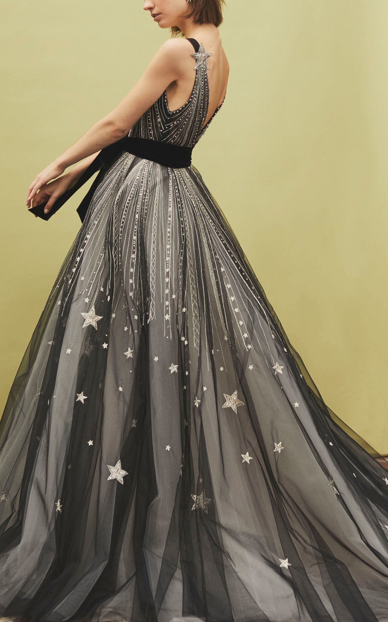 V Neck Star Embellished Gown With Velvet Bow Belt By Monique Lhuillier For Preorder On Moda Operandi Gowns Tulle Gown Embellished Gown