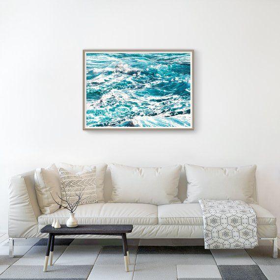 Ocean Wall Art - Blue And White Nautical Decor, Ocean Photography, Sea Decor, Blue Wall Art, Ocean Print, Sea Poster, Seascape Wall Decor #waterripples