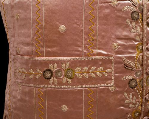 Detail of a waistcoat, made in Britain, c.1790-99 (source).