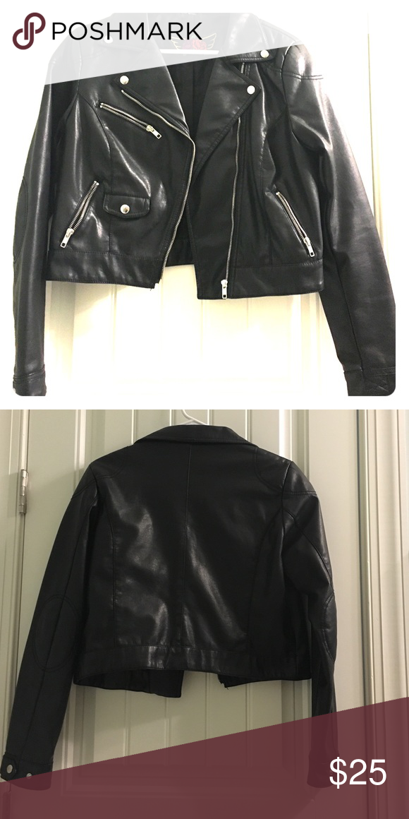 Black Cropped Leather Jacket Black Cropped Leather Jacket with silver buttons and zipper, has elbow patches and zipped cuffs. H&M Jackets & Coats
