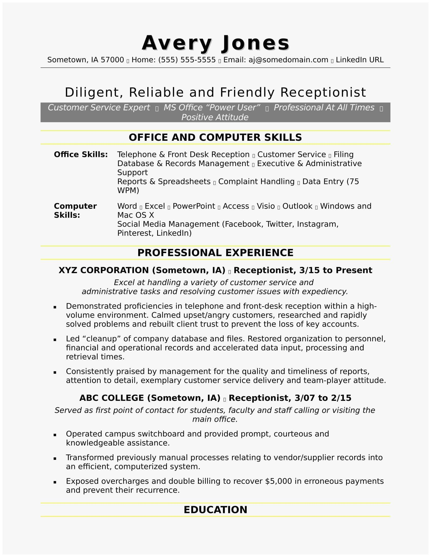 Social Media Resume Example Luxury 81 Admirable Graph Describe Your Puter Skills Resume Examples Resume Skills Receptionist Jobs