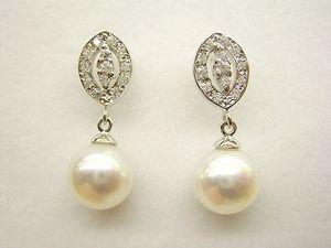 a67a9c13c573 Pendientes de novia oro blanco con circonitas y perlas cultivadas ...