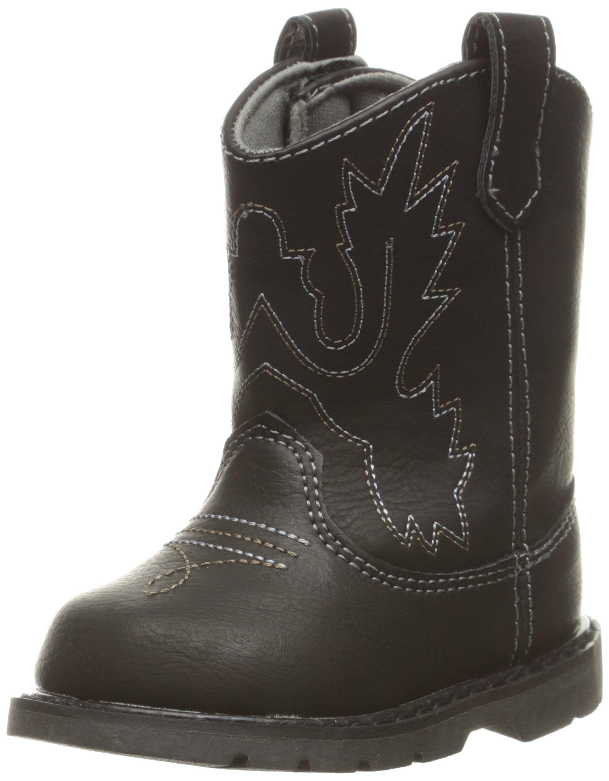 Baby Deer Kids Western Square Toe Boot Black 5 M US Toddler Pull