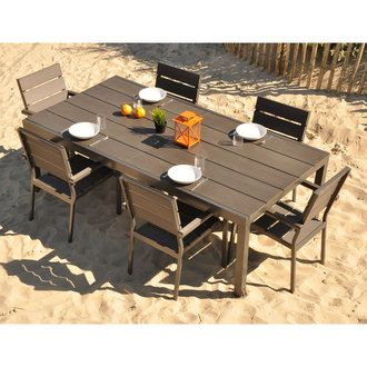 Salon De Jardin 6 Places Alu Composite Table 220 300cm 6 Fauteuils Storm Residence Disponib Salon De Jardin Salon De Jardin Resine Salon De Jardin Bois