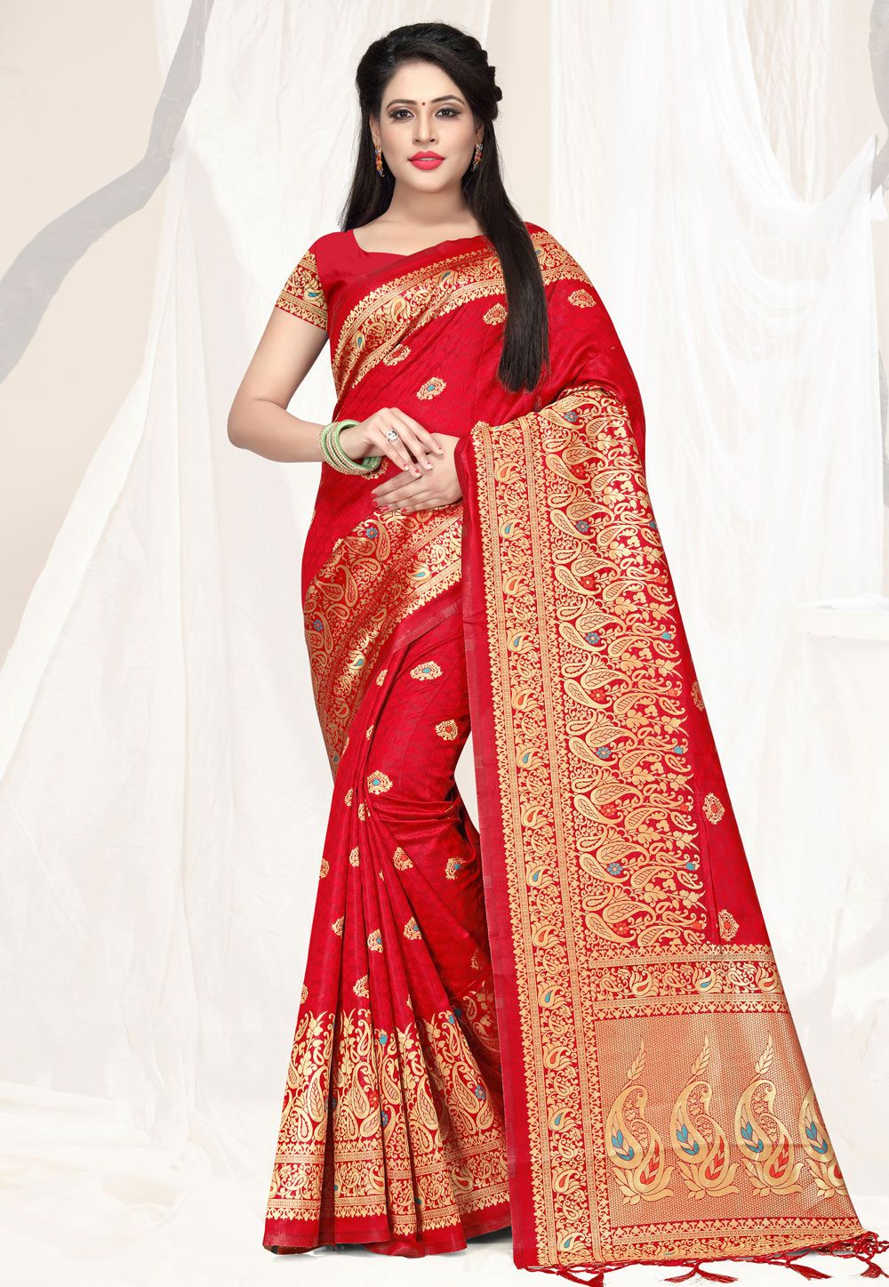 39c9db3cb3e1c Buy Red Banarasi Silk Festival Wear Saree 161857 with blouse online at  lowest price from vast collection of sarees at Indianclothstore.com.