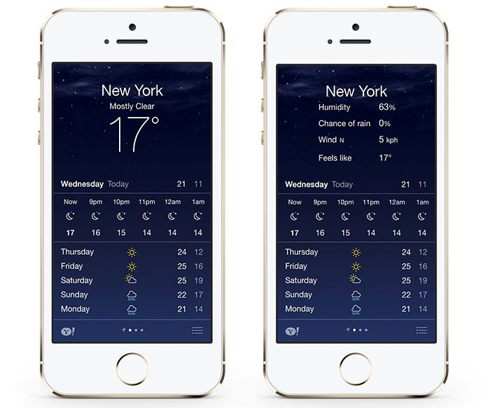 iOS 7 Brings An Improved Stock Weather App Ios 7, Ios