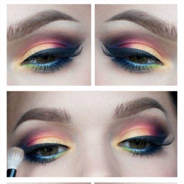 multicolor eye makeup for brown eyes