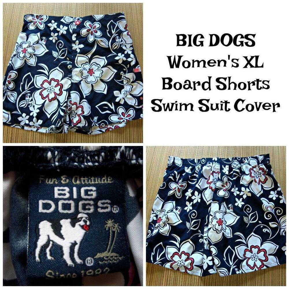 Big Dog Women S Xl 36 40 Waist Board Shorts Swimsuit Cover Navy
