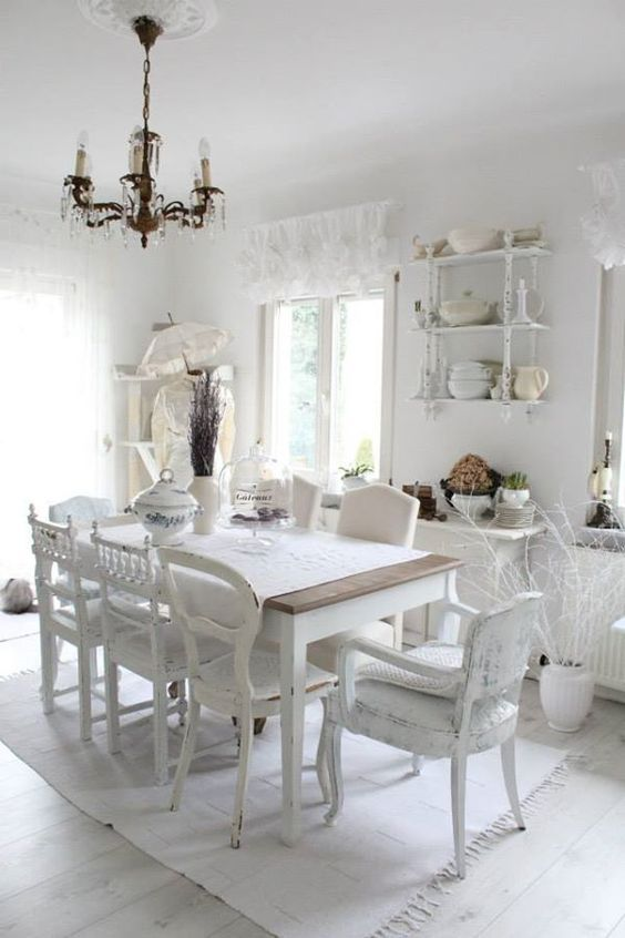 Crea un comedor shabby chic con estas ideas deco art design pinterest decoraci n en blanco - Habitaciones shabby chic ...