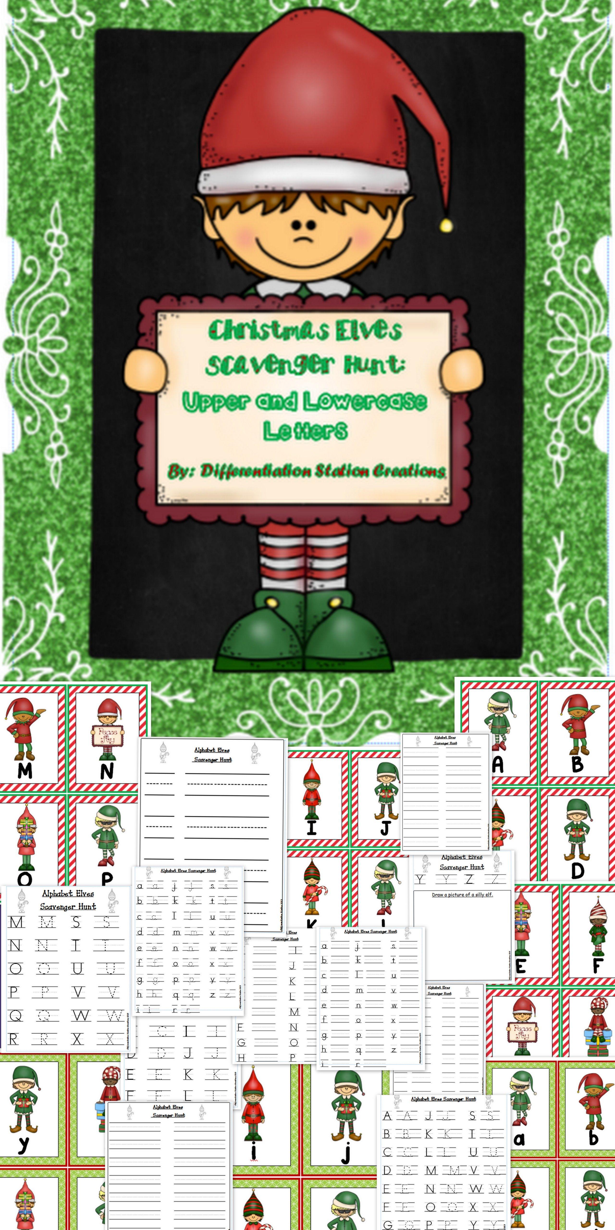 Christmas Elves Alphabet Scavenger Hunt Upper And