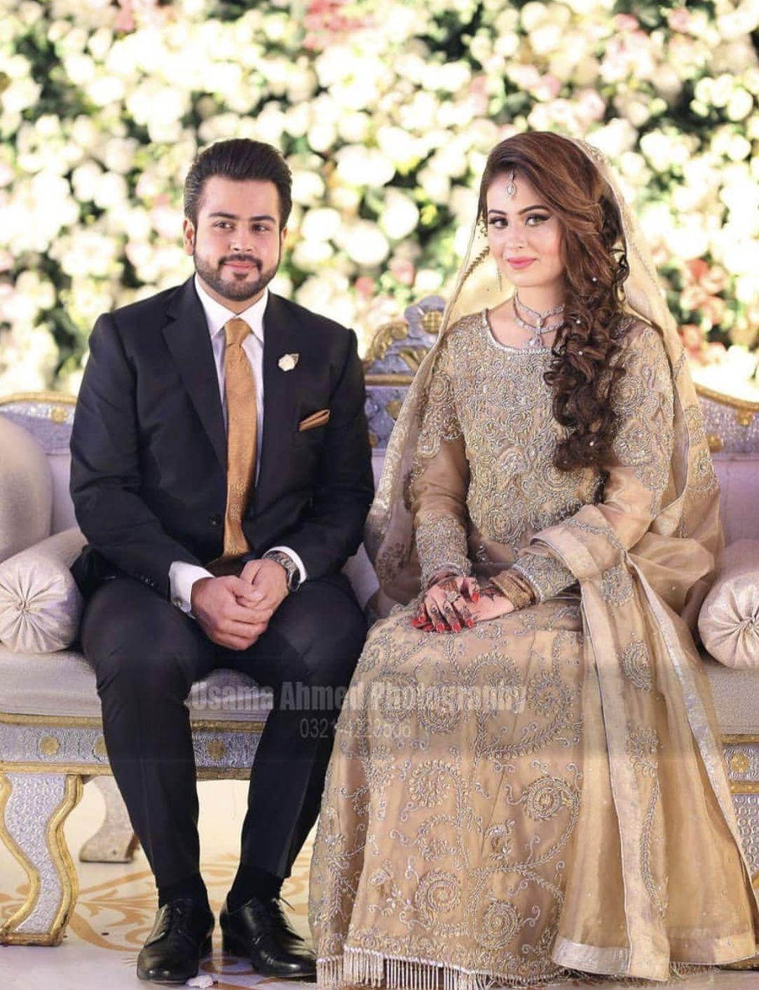 Bride Groom At Their Nikkah Couple Wedding Dress Pakistani Bridal Dresses Pakistani Wedding Outfits
