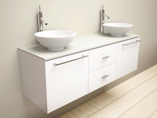 Modern Floating Bathroom Vanity Round Sink And Faucet Small