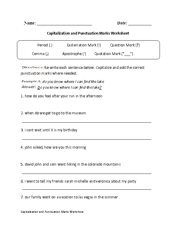 Capitalization And Punctuation Marks Worksheet