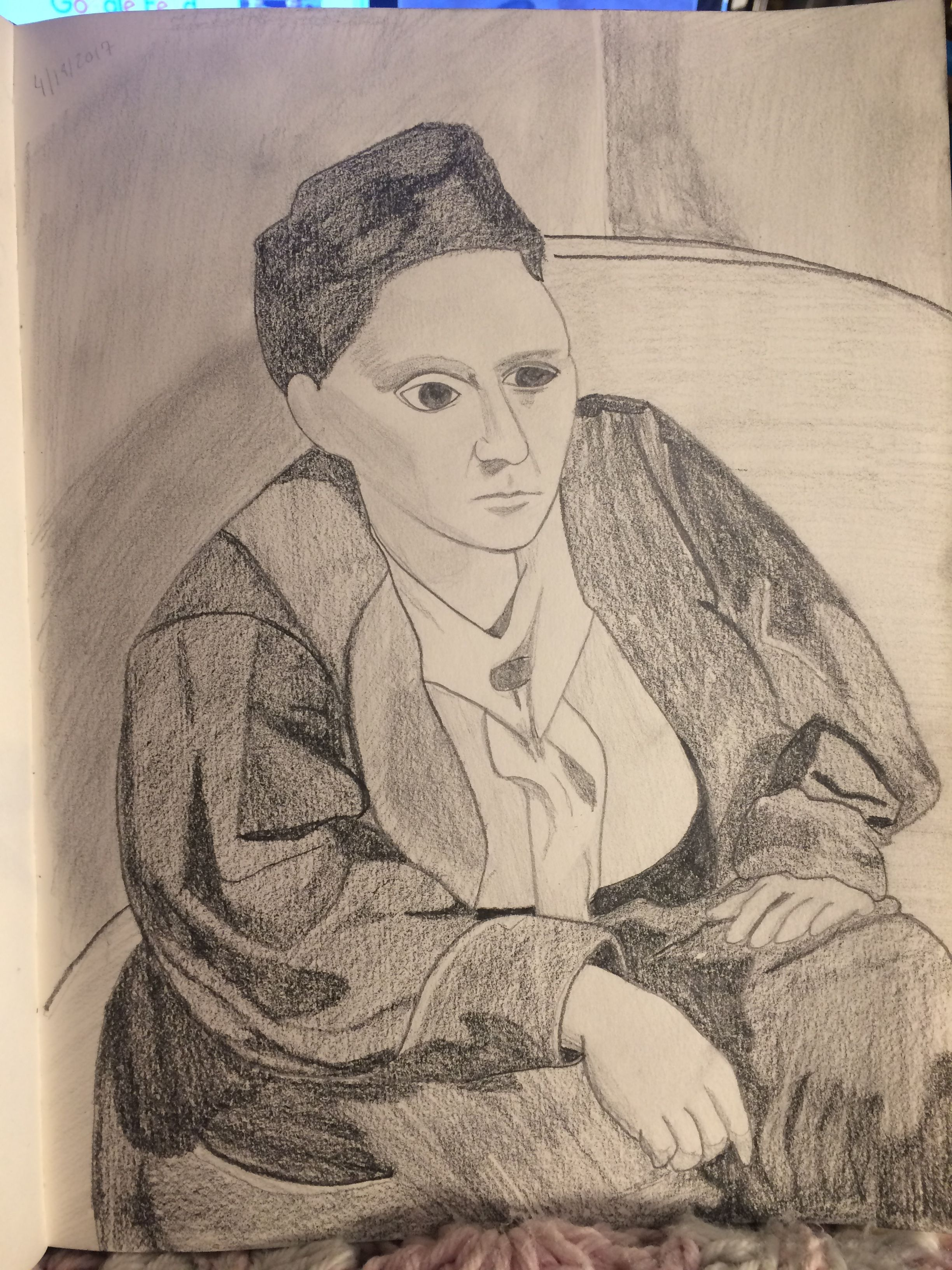 An imitation pencil drawing i made of gertrude stein a painting