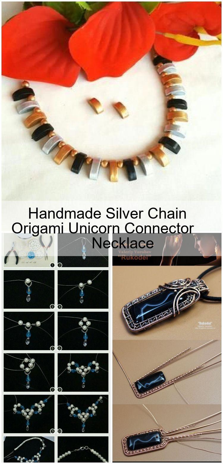 Photo of Handgemachte Silberkette Origami Unicorn Connector Halskette