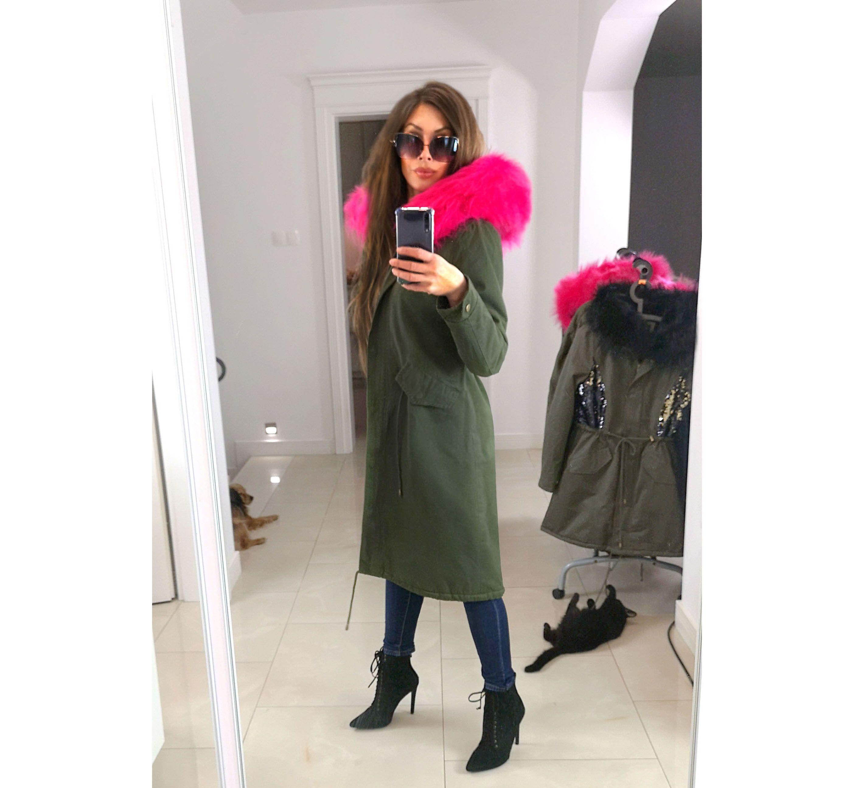 Kurtka Parka Zimowa Militarna Khaki Dluga 6202 4 Coat Fur Coat Fashion