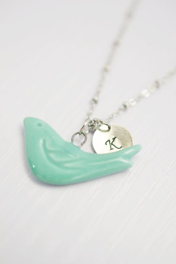 porcelain green bird necklace,bird charm necklace,nature inspired,hand stamped jewelry,personalized bird dove porcelain necklace,initial