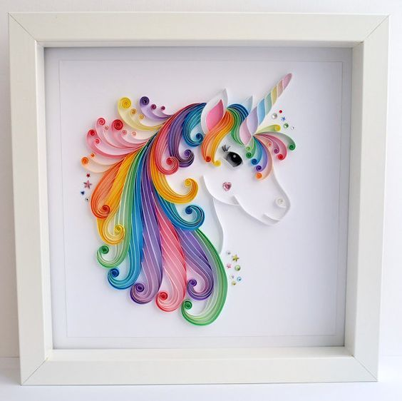 Large Unicorn quilling art, Unicorn framed picture, Girls