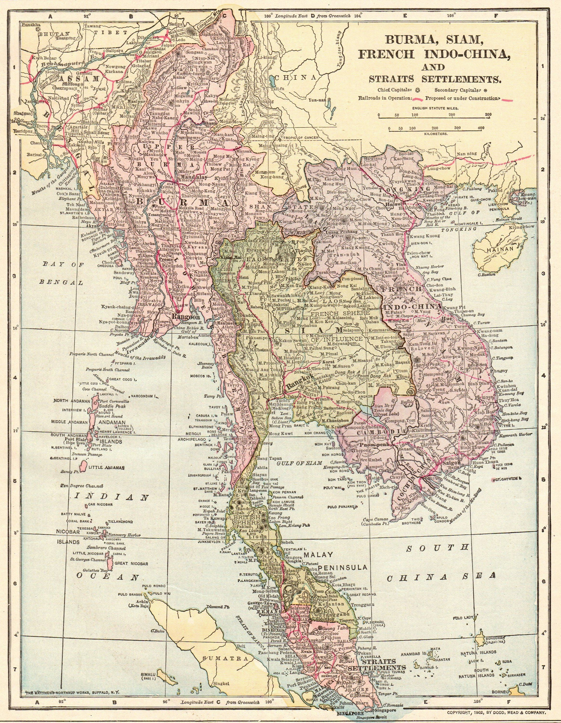 1902 Vintage Map Of Thailand Burma Map Indochina And Siam Map