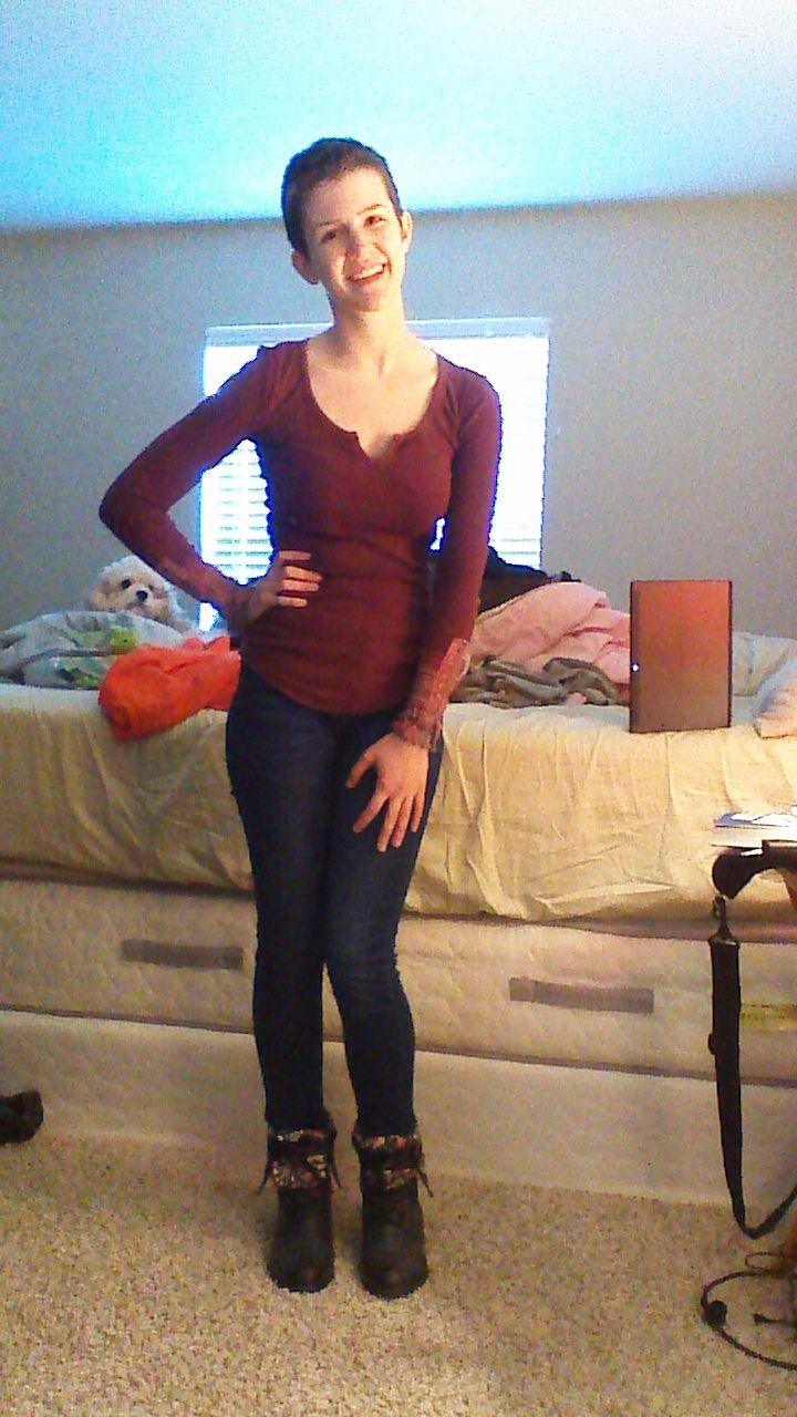Daily Outfit! I am wearing a burgundy shirt from Free ...