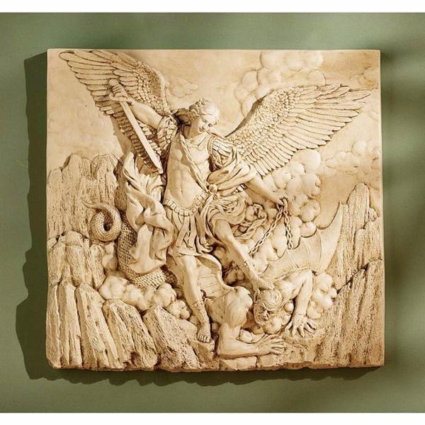 Archangel St Michael Sculptural Wall Plaque Friez Home or Garden