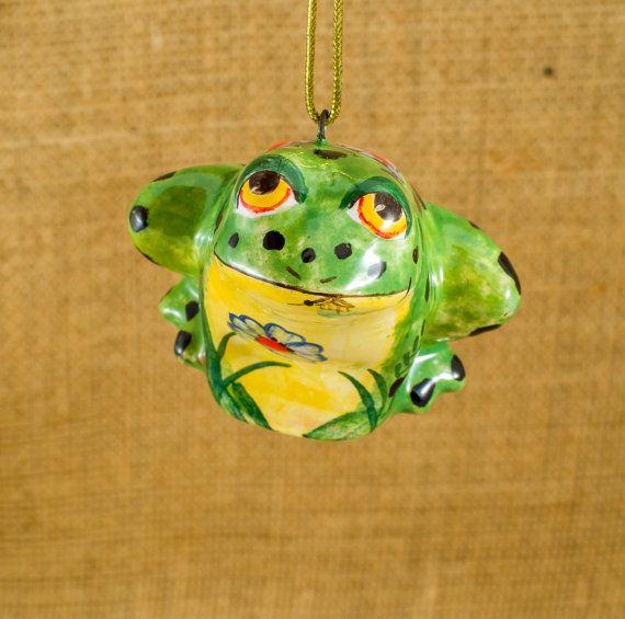 Majolica ornament frog Ceramic Frog Funny frog Tiny frog Forest