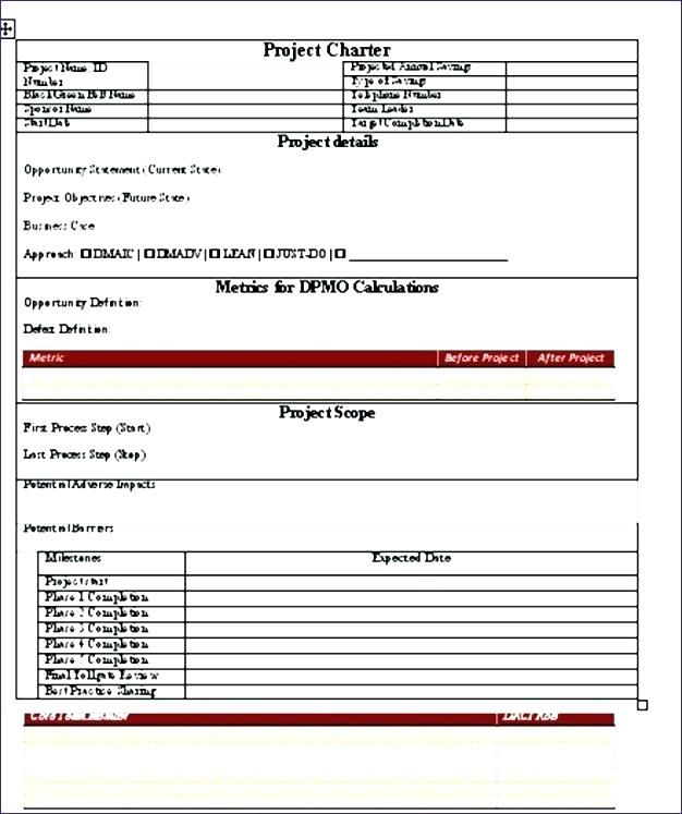 Dmaic Project Template Excel Six Performance Potential