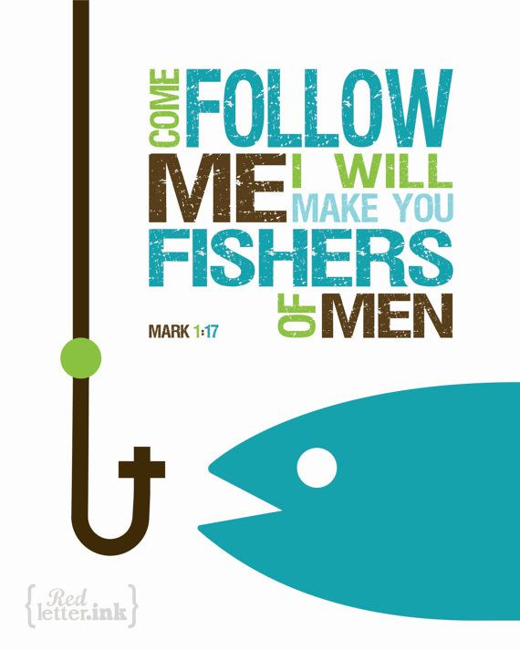 Fishers of Men Wall Art (3 color combinations) Mark 1:17 - 8 x 10