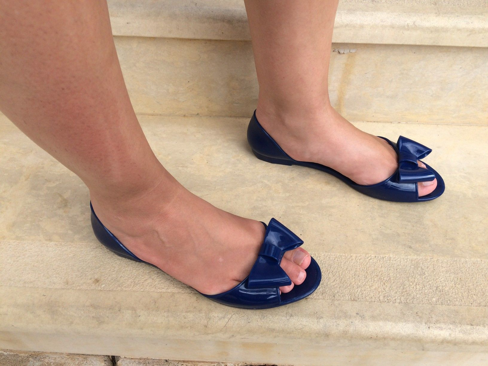 open toe flat pumps