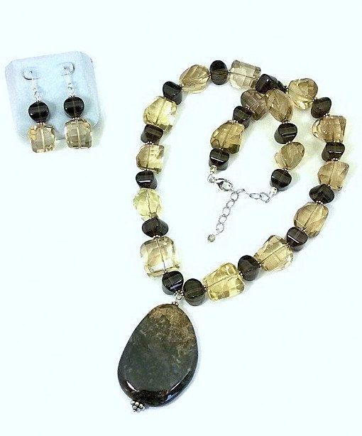 Smoky and Topaz Quartz Necklace & Earrings by ClassyGemsByCarol