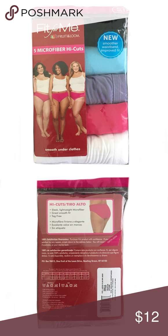 9e7b58004a4 Fit For Me Hi-Cut Microfiber 5 Pack Panties Sz 13 Fit For Me by Fruit of  the Loom. Unopened pack contains 5 pairs of panties. Size 13. Designed for  women ...