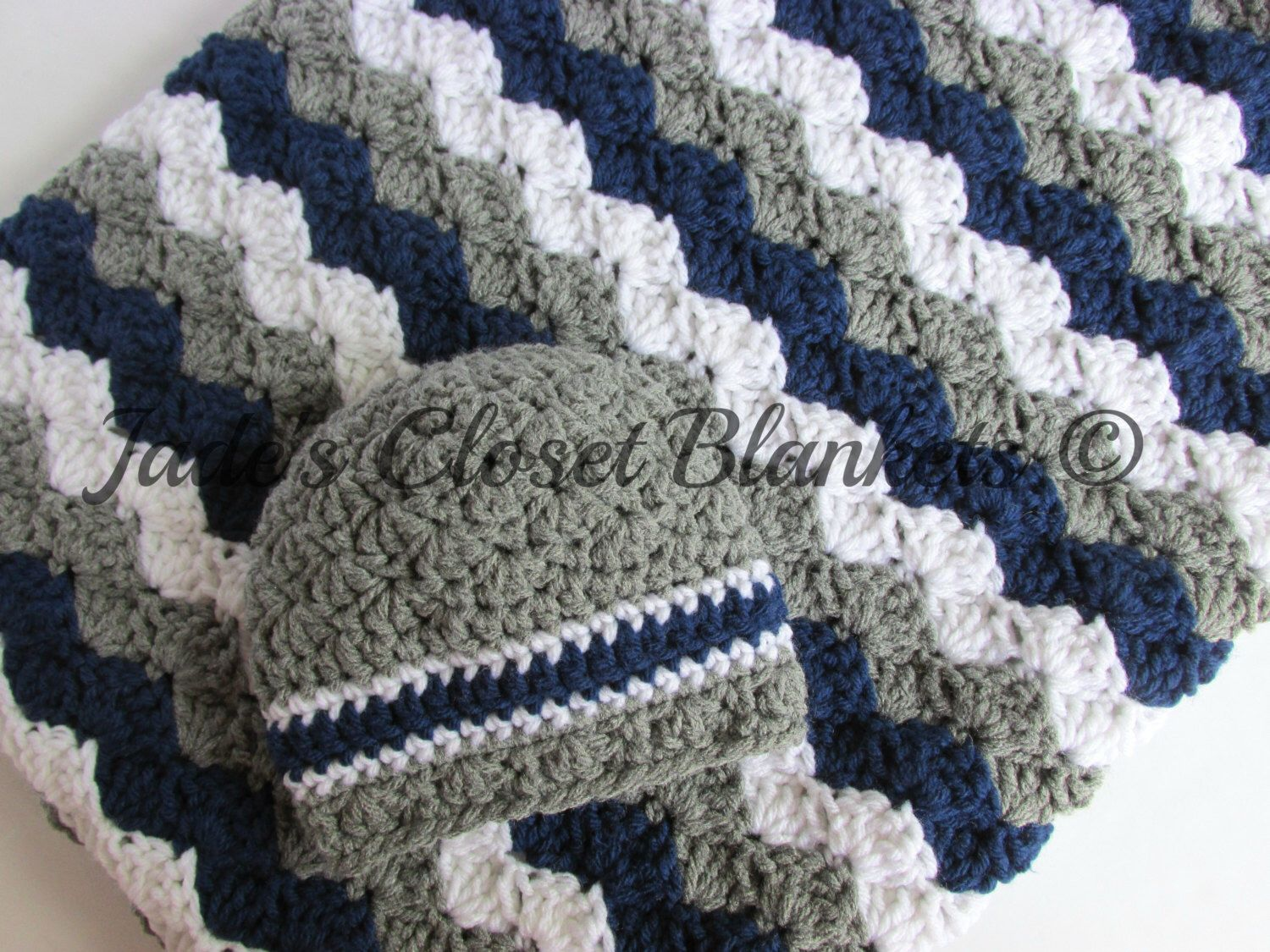 Car baby boy blanket crochet blanket by prairieheartstrings - Baby Gift Set Crochet Grey Gray Navy Blue And White Hat And Crib Blanket Set Baby Boy New Baby Gift Set