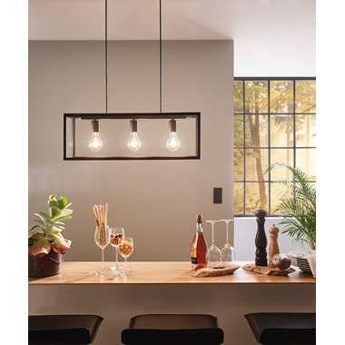 EGLO hanglamp Charterhouse 3 - lichts zwart/helder | Binnen ...