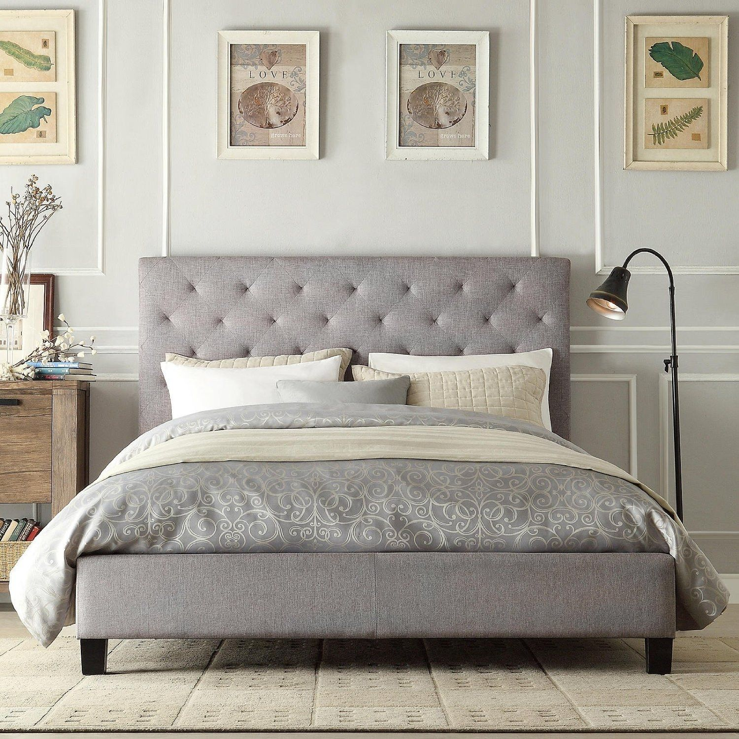 Queen Size Button Tufted Grey Upholstered Platform Bed Upholstered Platform Bed Bed Design Grey Platform Bed