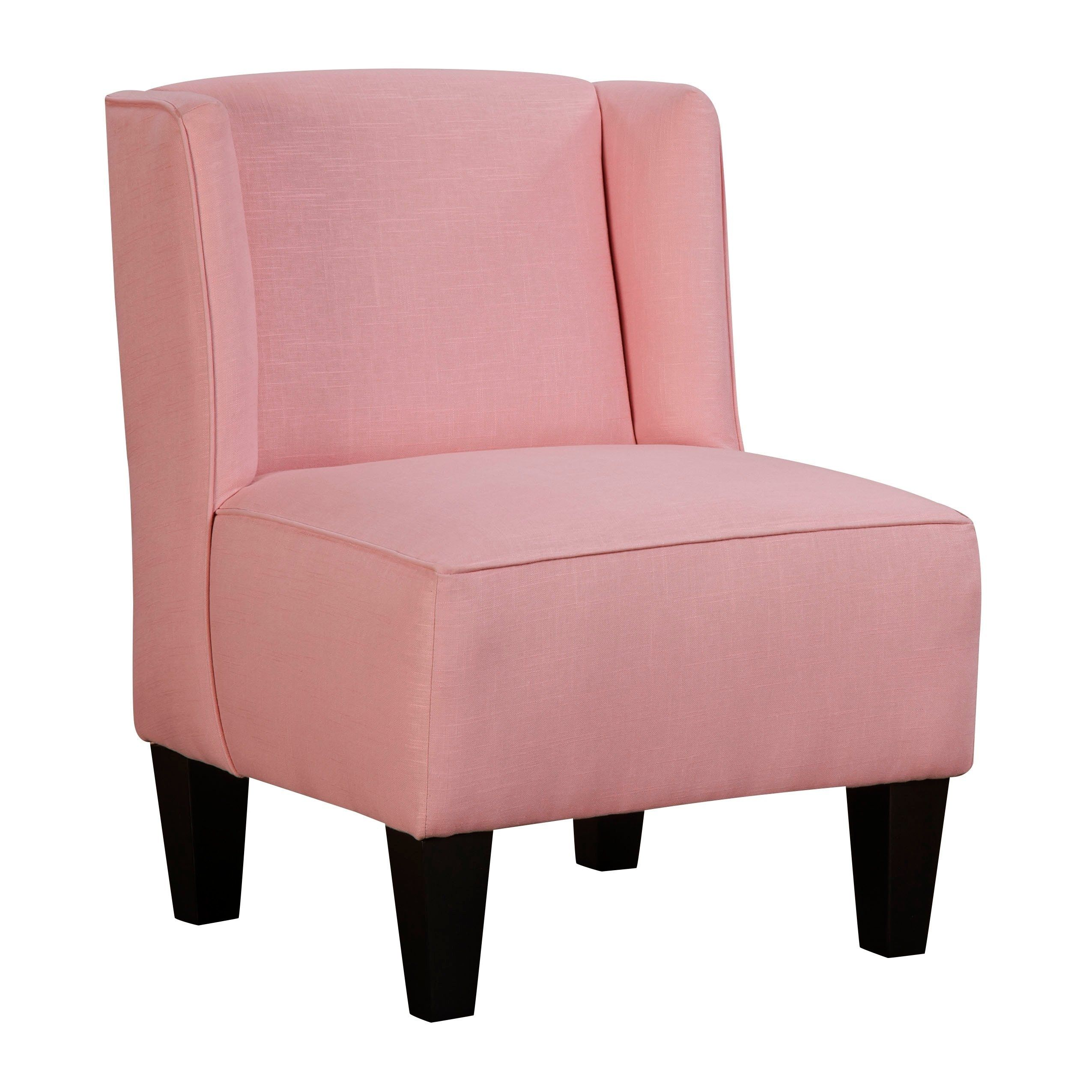 Chapter 3 Charlie Winged Slipper Chair Pink Armless Solid