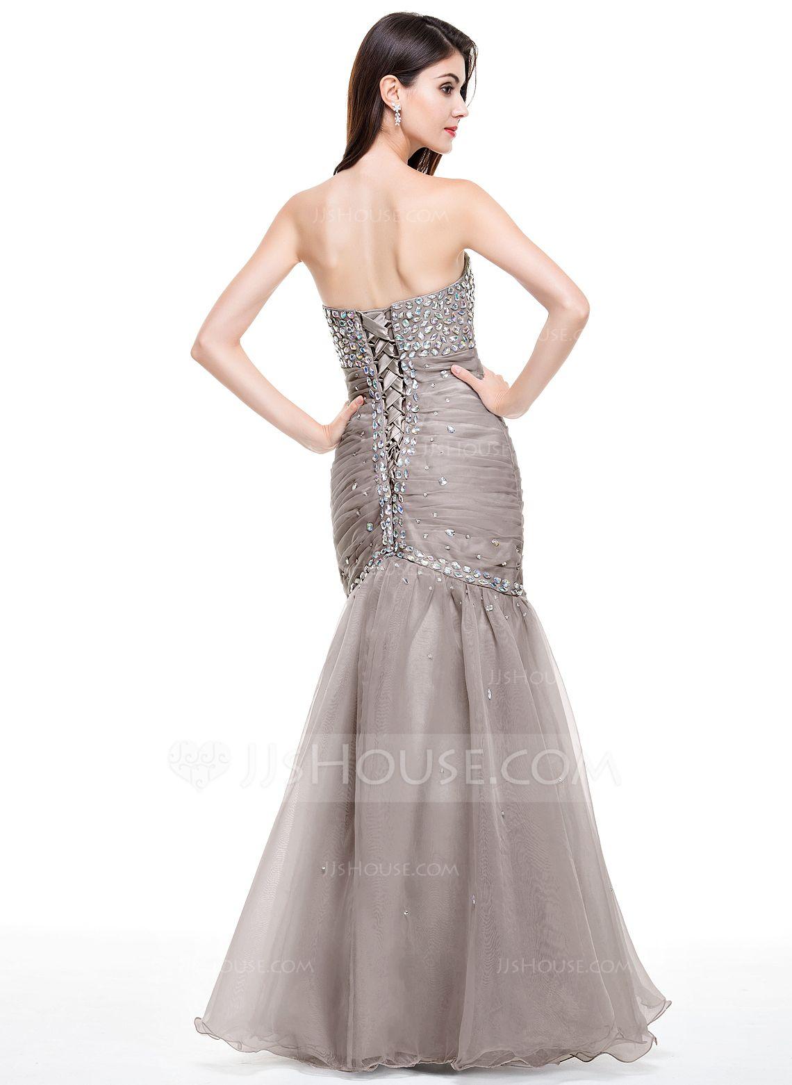 Trumpetmermaid sweetheart floorlength organza prom dress with