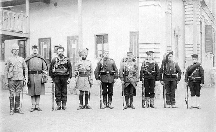 Troops of the 9 nations Alliance in 1900. (L to R: Britain, U.S, Australia, British India, Germany, France, Austria, Italy and Japan.