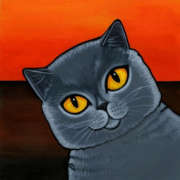 British Shorthair By Leanne Wilkes Cat Painting Cat Art Cat Art Illustration