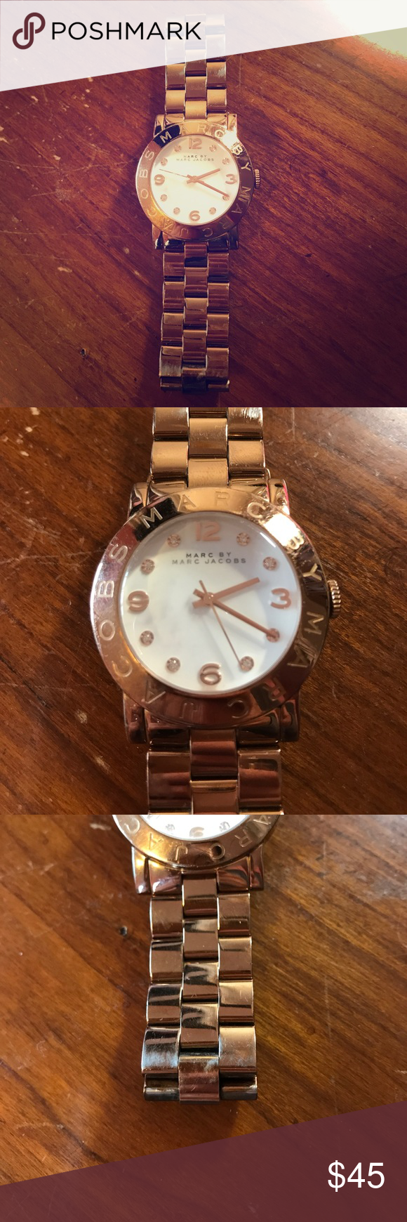 Marc by Marc Jacobs Watch There are scratches on the face and all over the band. The band has worn as you can see in the pictures. Marc by Marc Jacobs Jewelry