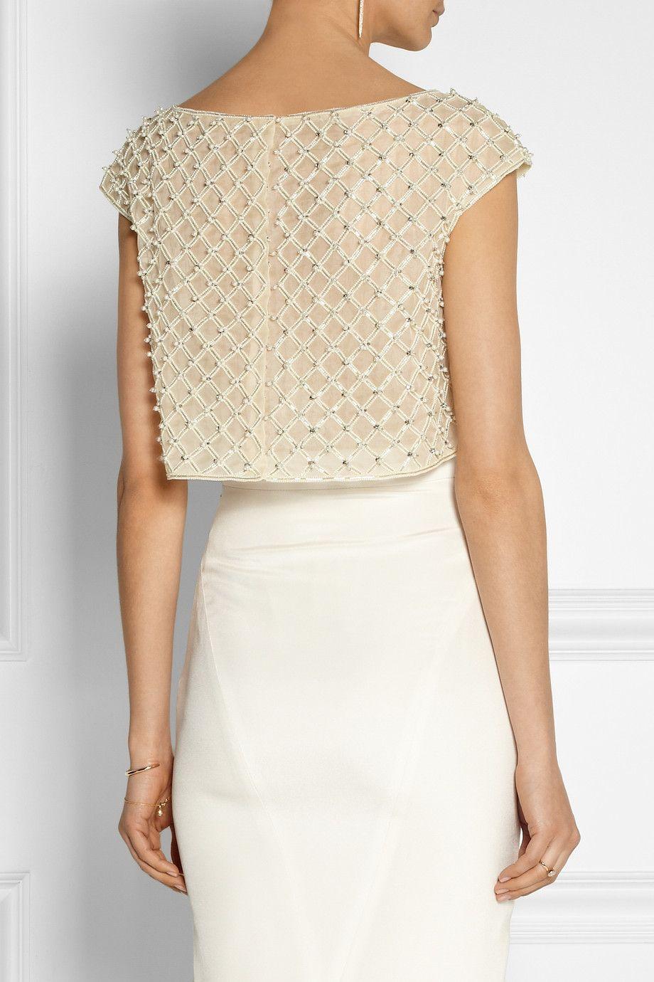 d8c0da1333835f Oscar De La Renta Cropped Embellished Organza Top in Beige (White) | Lyst