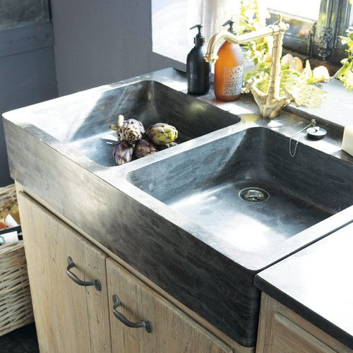 Recycled wood kitchen sink unit W 90cm Kitchen sinks Pinterest - evier cuisine en pierre