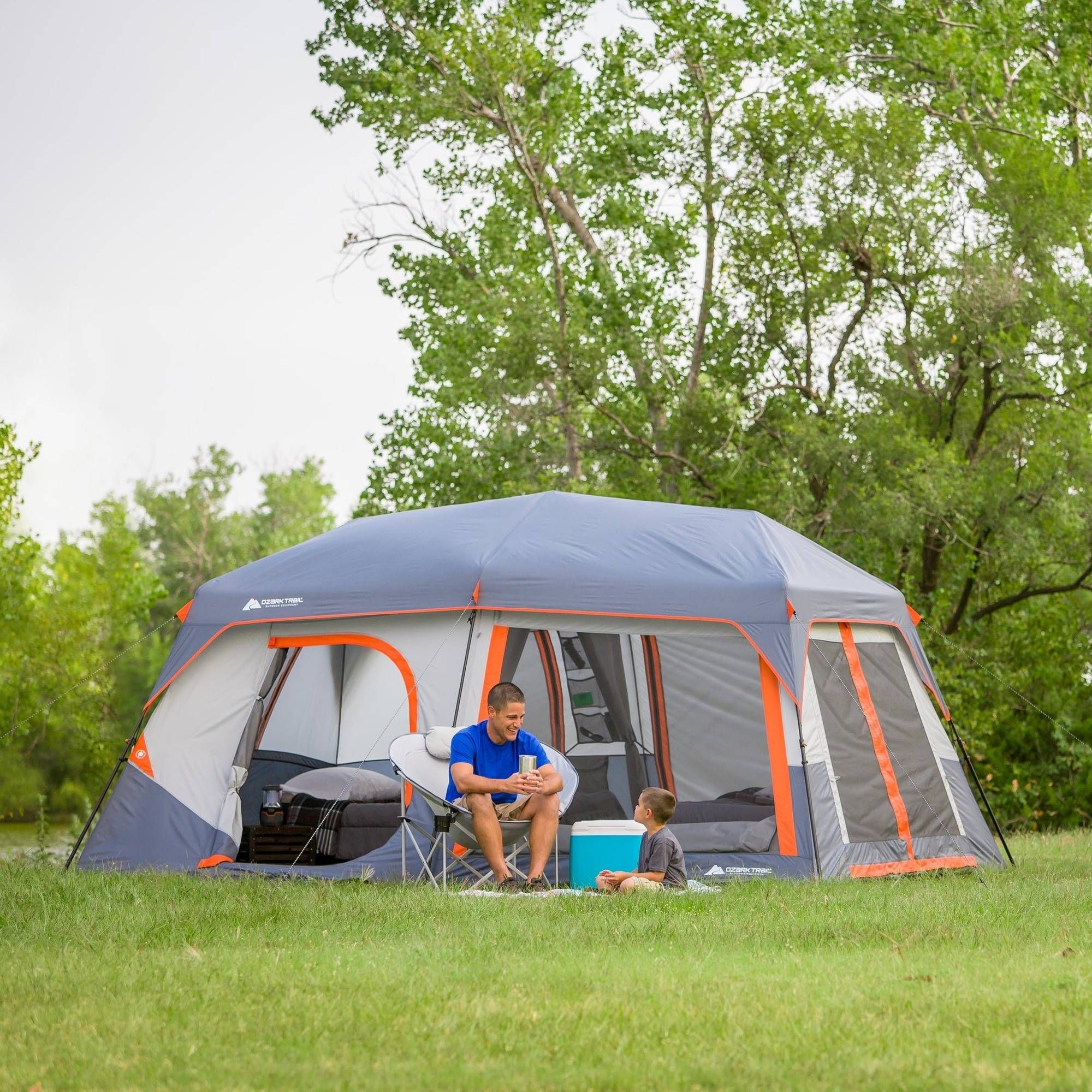 Ozark Trail 10 Person Instant Lighted Camping Cabin Tent Walmart Com Tent Cabin Tent Outdoor Camping Shower