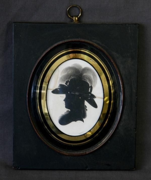 Early miniature silhouette of a lady lady with feathered hat in profile, unsigned but attributed to John Miers. Hand written verso 'Mrs Buchanan of Ardack Co.Dunbarton.