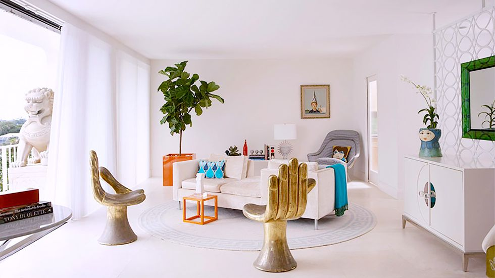 The 11 Greatest Lessons We Learned From Jonathan Adler // Living Room,  White Walls, Pedro Friedeberg Chairs, Balcony, Fiddle Leaf Fig, White Sofa
