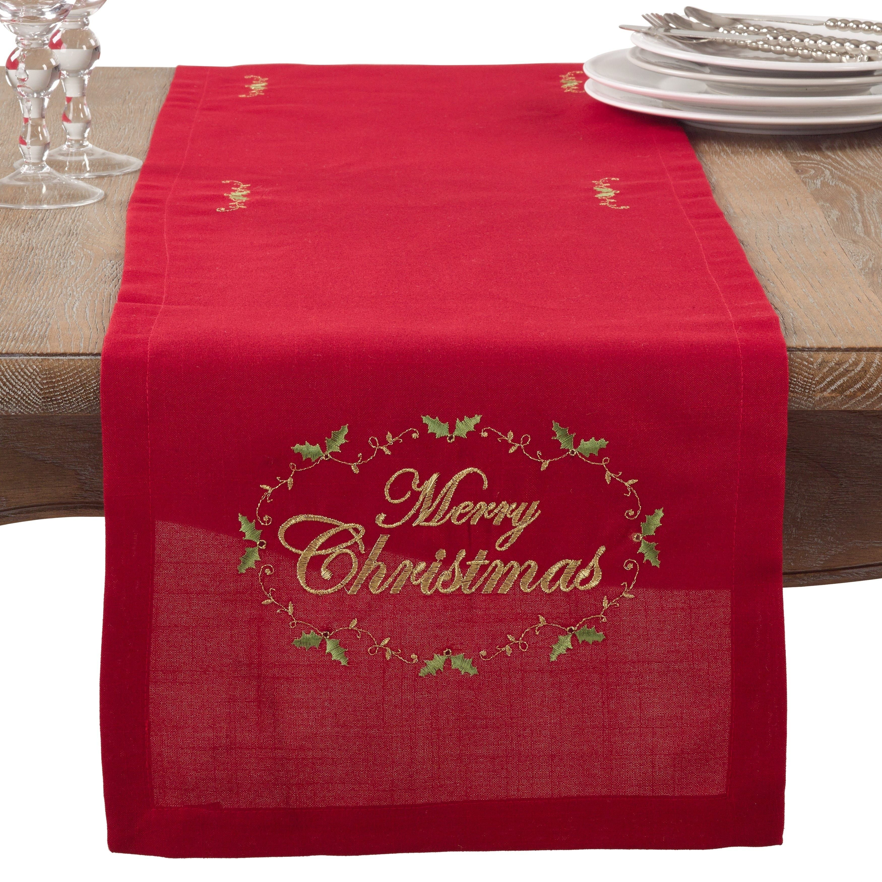 Saro Merry Christmas Embroidered Holiday Table Runner (Runner/90 Inch Runner),  Red (Polyester)