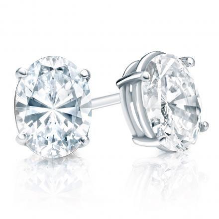 14k White Gold 4 G Basket Oval Diamond Stud Earrings 0 50 Ct Tw